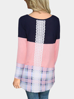 Pink Grid Round Neck Long Sleeves T-shirts