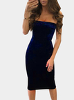 Blue Casual Velvet Bodycon Strapless Dress