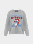 Lip and Letter Print Sweatshirt in Grau