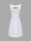 White Sleeveless Mini Dress with Cut Out Back