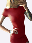 Sexy Red Curved hem Bodycon Fit Dress With Short Sleeves