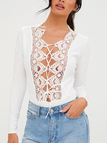 White Stitching Floral Lace Self- tie Front Long Sleeves Bodysuit