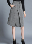 Grey Self-tie Waist A-Line Midi Skirt