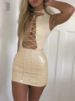 Apricot Zip Closure Lace-up Design Mini PU Skirts