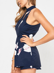 Halter Neck Cutout Front Design Playsuit in Navy