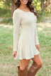 Beige See-through Ladies Style Cable Knit Mini Dress