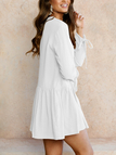 White Round Neck Long Sleeves Mini Dress