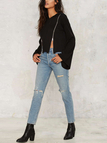Black Fashion Double Zipper Flared Sleeves Hoodie With Hood