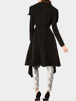 Black Asymmetric Woolen Lapel Trench Coat