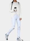 White Splited Design Round Neck Irregular Hem T-shirt