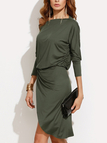 Green One Shoulder Long Sleeves Irregular Hem Dress