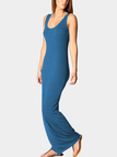 Steel Blue Scoop Neck Sleeveless Maxi Dress