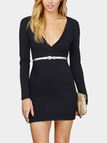 Black Wrap V-Neck Body-Conscious Mini Dress
