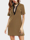Khaki Lace-up Design Mini Dress