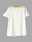 White Casual Loose Lace Deign Hollow Out Details T-shirt
