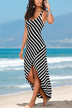 Black Striped Scoop Neck Asymmetrical Maxi Dress