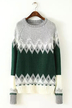 Geo Pattern Drop-shoulder Sweater in Green
