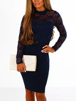 Navy Lace Detail Crew Neck Long Sleeves Bodycon Dress