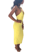 Yellow V Neck Strappy Back Dress