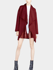 Burgundy Drape Wrap Coat with Belt