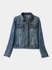 Blue Classic Collar Letter Pattern Denim Jacket