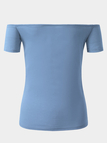 Sky Blue Self-tie Front Details Off Shoulder Short Sleeves Sexy Bodycon Blouse