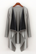 Draped Longline Cardigan with Leather-look Lapel in Grey