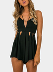Sexy Sleeveless Open Back Playsuit with Cut Out Details