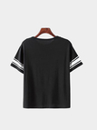 Casual Loose Black Round Neck Stripe Details T-shirt