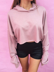 Casual Hooded Plain Color Crop Sweatshirt