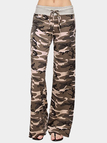 Brown Lace-up Design Camouflage Drawstring Waist Pants