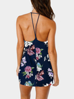 Navy Sleeveless Random Floral Print Halter Backless Mini Dress