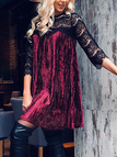 Burgundy Lace Stitching & Pleated Design Long Sleeves Dress