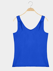 Casual Blue Color Deep V Neck Vest for Daily