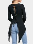 Black Lace-up Dovetail Back Long Sleeves Top