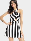 Stripe Design Cut Out Details Cross Back Backless Plunge Dress