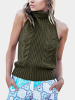 Army Green Backless Halter Design Roll Neck Sleeveless Knitted Top