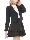 Black Zip Detail Long Sleeves Open Front Blazer
