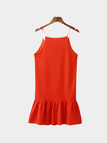Red Flounced Hem Halter Mini Dress