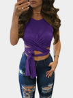 Purple Sexy Self-tie Design Crop Top