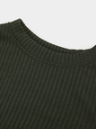 Green Pleated Design Round Neck Long Sleeves Jumper