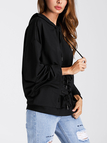 Black Casual Lace-up Front Hoodie Sweatshirts