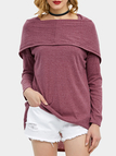 Fuchsia Crew Neck Long Sleeves Irregular Hem Hooded Knitwear