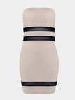 Khaki Sexy Padded Sheer Mesh Contrast Stripe Body-con Mini Dress