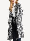 Grey Zebra Stripe Knitted Cardigan