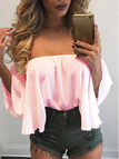 Pink Sexy Off Shoulder Loose Fit Blouse