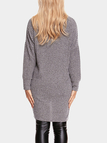 Grey Two Pockets V-neck Long Sleeves Sweater Dress