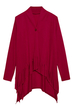 High Low Hem Tassel Cardigan in Burgundy