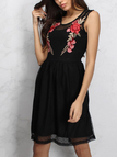 Black Floral Embroidery Net Yarn Sleeveless Dress