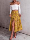 Yellow Floral Print Button Design Slit Front Maxi Skirt
